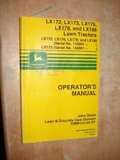 JOHN DEERE LX172 LX173 LX176 178 188 LAWN TRACTORS OPERATORS MANUAL OWNERS BOOK