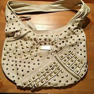 Lipsy Beige studded leather handbag used twice excellent biker bag