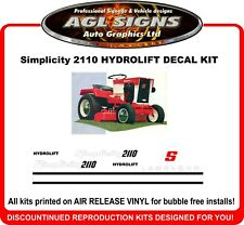 Simplicity 2110 Hydrolift  Lawn Tractor Reproduction DecaL Kit Landlord