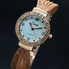 Women's Lady Bracelet Stainless Steel Gold/silver Crystal Dial Watch Decor