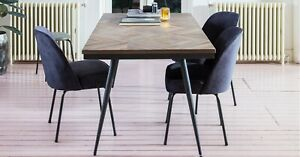 Reclaimed teak wood Parquet 6 seater dining table