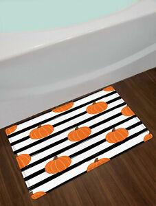 Autumn Orange Pumpkin Shower Curtain Black White Striped For Bathroom Decor