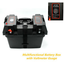 Multifunctional Battery Box Voltmeter Guage USB Charger Car Marine Boat RV Truck