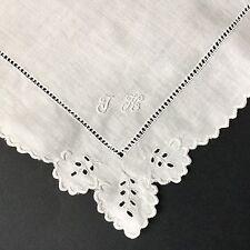 MOUCHOIR ANCIEN DE MARIAGE Broderie Monogramme JK Antique Lace HANDKERCHIEF