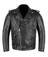 BRANDO Mens Leather Jacket With Armour Protection Motorbike Biker Leather Jacket