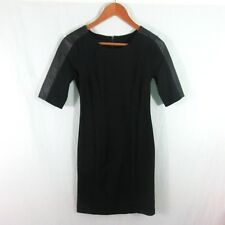 Metaphore XS little black dress Short Sleeve Dress with Faux Leather sleeves XS