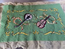 Vintage Needlepoint For Bench Pillow Chair Seat Cover Green w Music Instruments