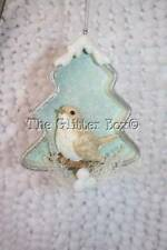 Christmas Ornament Kurt Adler Icy Blue Bird Sitting In Tree Shadow Box Style B