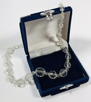 Vintage Necklace Graduated Clear Faceted Glass Beads Sparkly Pretty Costume
