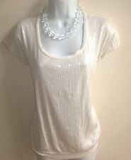 Express Ivory MIXED MEDIA COLORED SEQUIN TOP WITH PLAIN IVORY BACK SZ XS