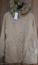Womens Ladies Parka Fur Hooded Winter Coat Size S Camel