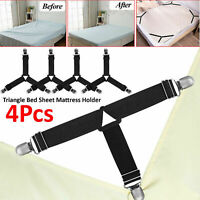 4X Fitted Bed Mattress Sheet Clip Grippers Strap Suspender Fastener Holder Clamp
