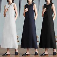 UK Women Casual Cotton Linen Dress Maxi Sundress Sleeveless Holiday Beach Summer