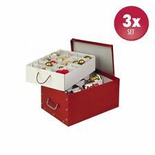 3 x XL Deko Karton Weihnachtskarton Schachtel Aufbewahrungsbox Box Rot Top