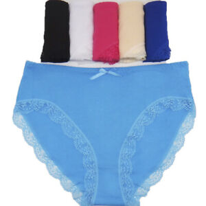 6 Pcs Women's Lady Sexy High Cut Briefs Cotton Soft Breathable Panties Underwear