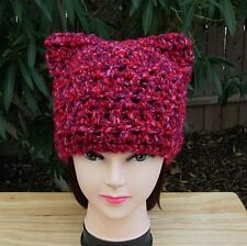 Pussy Hat, Pink Red Purple, Handmade Soft Warm Winter Crochet Knit Cat Beanie