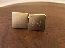 Vintage Men's KREMENTZ Gold ART Initials Cufflinks Monogrammed Amber Bullets