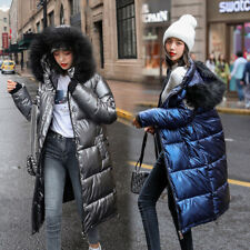 2020 Winter Women's Down Cotton Parka Long Fur Collar Hooded Coat Quilted Jacket