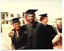 Vintage 80s PHOTO Young Black Men Guys Graduates In Caps & Gowns