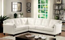 Living Room Contemporary Tufted Cushion seating Sectional Sofa White Leatherette