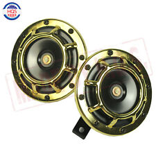 Gold Pair Dual Blast Tone Grille 139DB Mount Super Loud Car Speakers Horns New