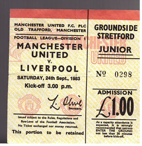 MANCHESTER UNITED V LIVERPOOL 1983/84 DIVISION ONE MATCH TICKET - 24/09/1983