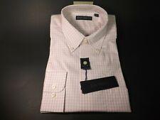 NEW Men's Dress Shirt Size 16 32/33 by Barry Bricken Pink White Checks