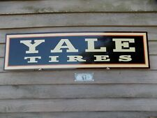 """C. EARLY/VINTAGE STYLE YALE TIRES DEALER 3 COLOR SIGN 1'X46"""" ALUM. HORIZONTAL"""