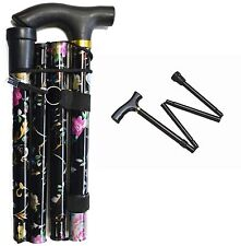 FLOWER PLAIN ADJUSTABLE LIGHT WEIGHT EASY FOLD ALUMINIUM WALKING STICKS CANE
