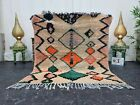 "Moroccan Handmade Vintage Rug 4'5""x5'3"" Berber Geometric Orange Green Carpet"