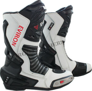 Motorcycle Motorbike Leather Boots Eviron Racing White Shoes Waterproof