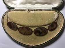 Antique Victorian Agate Panel Necklace Pendant In Yellow Gold Hallmarked DJ