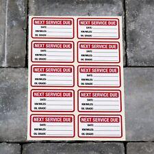 10 x Next Service Stickers Car Van Truck Garage Oil Change Reminder - Red - 5416