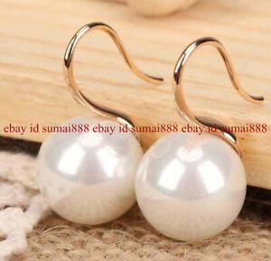 8/10/12/14/16MM White south sea shell pearl 14K Gold Plated Hook Dangle earrings