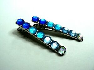 Pair Of Sparkly Crystal Hair Crocodile Clips Short 55mm Slides Blue Mix Silver
