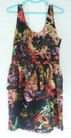 T By BETTINA LIANO ~ PEPLUM STYLE FLORAL SHEER SLEEVELESS DRESS SIZE 14