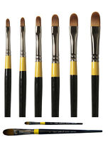 Daler Rowney System 3 Artist Acrylic Paint Brush - Long & Short Handle FILBERT