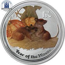 Australia 1 dollari 2008 Lunar II serie: anno del mouse in colore 1 OZ ARGENTO