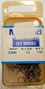 100 Mustad 3399 size 10 Superior Sproat Made in Norway Wet Fly Hooks