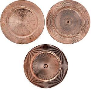 Set of 4 Shiny Copper Charger Plates Under Plates 33cm Premium Range