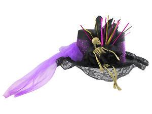 Womens Deluxe Skeleton Top Hat Purple Veil Cosplay Halloween Costume Accessory
