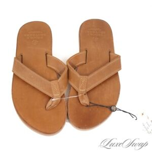 NWT Brooks Brothers Made in USA Americana Collection Brown Leather Flip Flops 8