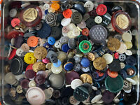 Tin of Unsearched Vintage Buttons lot. 2 lbs