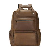 """Men Genuine Leather Backpack 16"""" Laptop Travel Bag School Bag Weekend Daypack"""