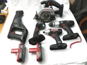 "Craftsman 5pc 19.2V Set Drill, Recip Saw, 5-1/4"" Circular saw, Impact Flashlight"