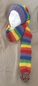 Hand knit Stocking Hat/beanie extra long, Rainbow stripes, Tuque, 5' long