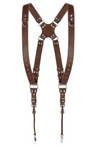 Coiro Harness Shoulder Strap Two Camera Dual Leather Holder Adjustable Brown