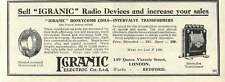 1926 Igranic Radio Devices Electric Bedford Works Old Advert