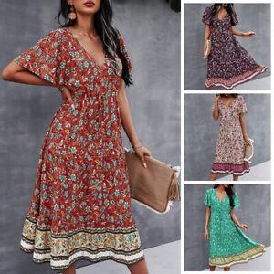 Women's Boho V-Neck Maxi Dress Ladies Floral Short Sleeve Summer Beach Sundress
