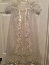Vintage Baby Christening Gown Dress Ivory 3 Piece, Gown, Under Gown & Bonnet S